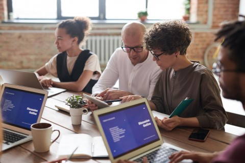 diversity in a work environment or office, people working in an office with laptops
