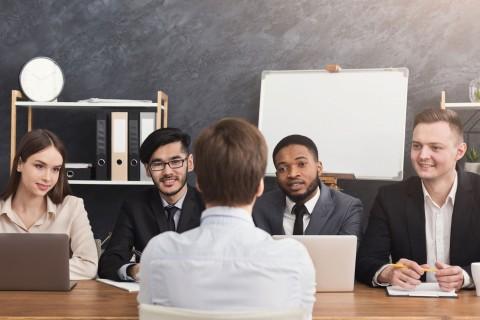 human resources team hiring a man
